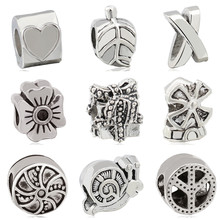 Btuamb Vintage Punk Owl Trojan Horse Flower Alloy Charm Beads Fit Original Pandora Bracelets & Bangles DIY Making Jewelry Gift(China)