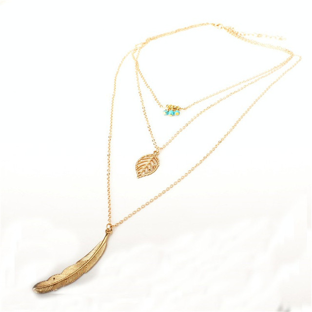 MissCyCy Fashion Simple  Necklaces Leaf Long Pendant Necklaces 3 Layer Chain Necklace multilayer Necklaces