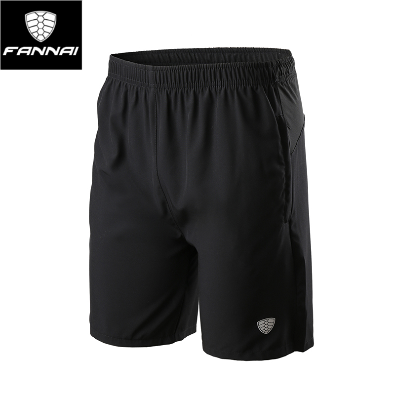 FANNAI Good Elasticity Loose Exercise Shorts Black Men Breathable 99% Polyester Tight Version Reduce Fatigue Training Shorts
