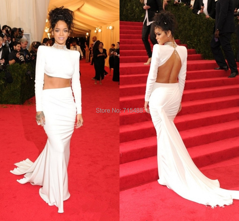 2017 Met Gala Rihanna White Jewelry High Neck Twp Pieces Long Sleeve Custom Made China Indian Celebrity Evening Dresses In Inspired