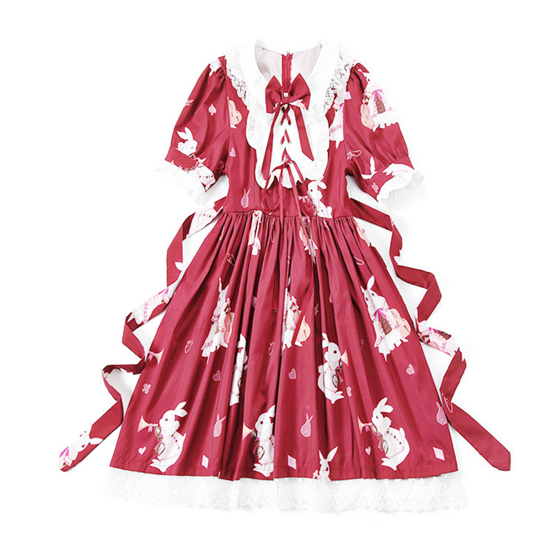 SO CUTE Ruffled collar Girl  Lolita Dress with lace decoration Women Lolita short sleeves falbala dress musical rabbit costumes