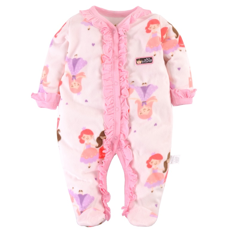 Pink Princess Baby Girls Clothes Set Infant Rompers Fleece With Feet Bebe Ropa Long Sleeve Romper Babywear Top Quality Drop newborn baby rompers baby clothing 100% cotton infant jumpsuit ropa bebe long sleeve girl boys rompers costumes baby romper