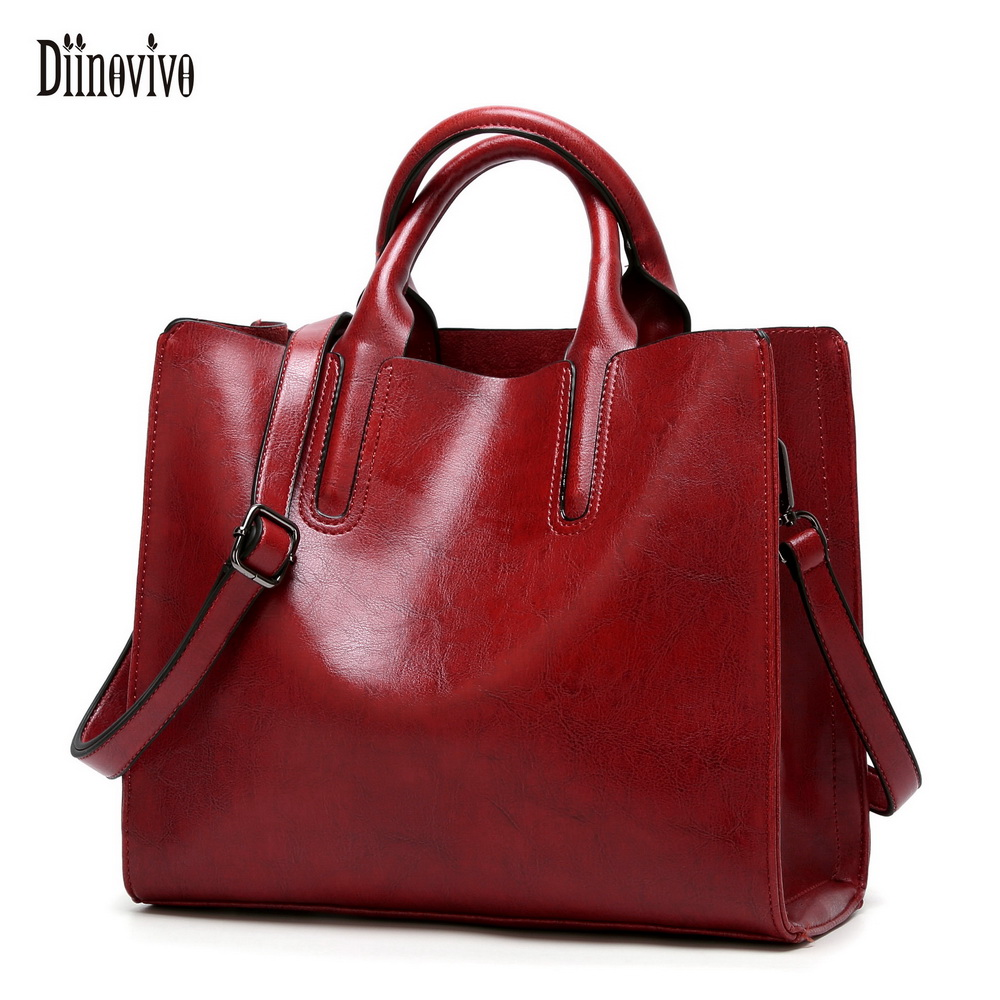 DIINOVIVO Women Leather Bags Famous Brands Handbag Casual Female Bag Trunk Tote Ladies Shoulder Bag Large Messenger Bag WHDV0012