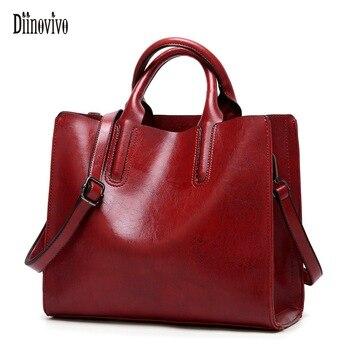 Diinovivo Women Leather Bags Famous Brands Handbags Casual Female Bag Trunk Tote Ladies Shoulder Bag Large Bolsos Mujer WHDV0012 grande bolsas femininas de couro