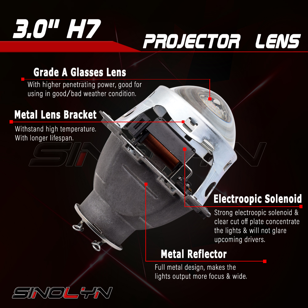 SINOLYN 3.0 ''Q5 H7 D2S Xenon HID/Halogène/LED Phare Bi-xénon Objectif Du Projecteur LHD RHD pour Voiture Style Phare Tuning Rénovation - 2