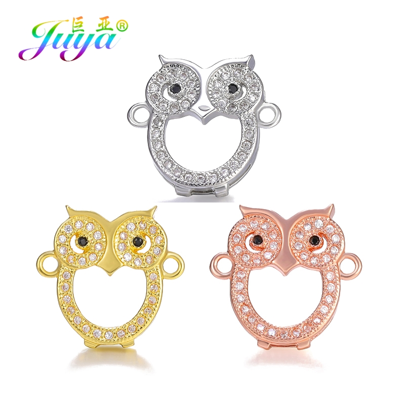 Juya DIY Bracelets Accessories Micro Pave Zircon Animal Charms Star Cat Owl Butterfly Connectors For Handmade Jewelry Making