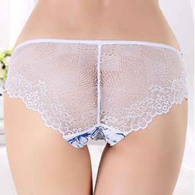 2017 New sexy lace panties Women's stealth briefs women seamless transparent  printed cheap women underwear Factory wholesale