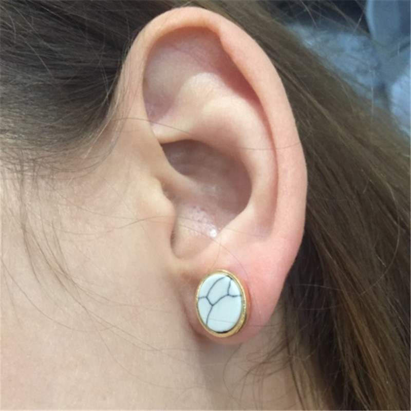 WWLB Brands Round Marble Stone Earring Fashion Jewelry 6 Color Crystal Earrings For Women Pendientes Female Bijoux