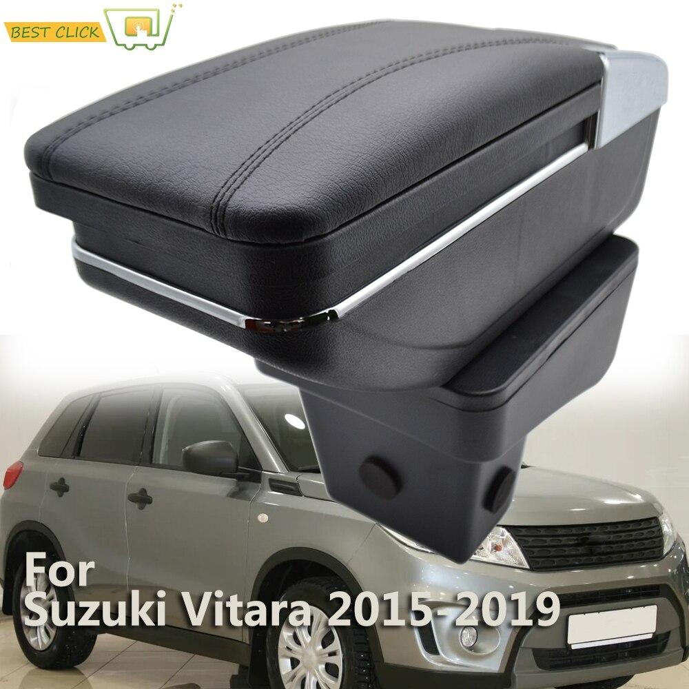 Контейнер для хранения для Suzuki Vitara 2015, 2016, 2017, 2018, 2019, поворотный подлокотник для чашки, черный кожаный подлокотник