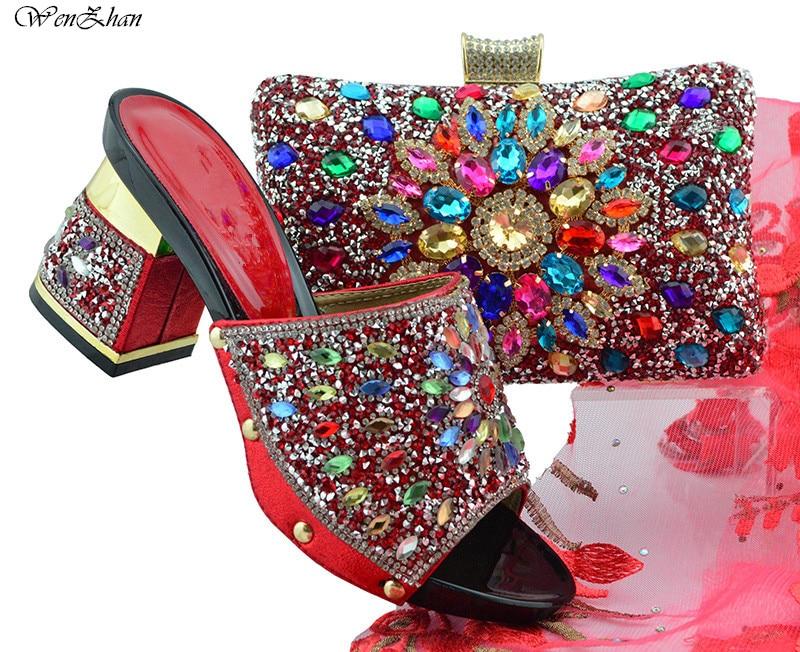 Calidad Rhinestone Y Bolsos Italianos A Juego Bolso Fiesta Suave Zapatos 12 B86 Rojo Color Los De Brillante Del Alta Sistemas Con Zx4Uwx