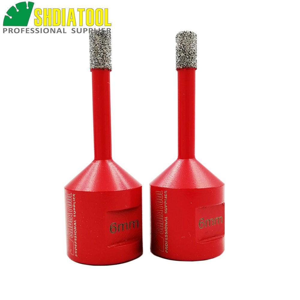 SHDIATOOL 2pc Dia 6mm M14 Vacuum Brazed Diamond Drilling Core Bits Dry Drilling Bit Hole Saw Drill Bits Granite Marble Tile
