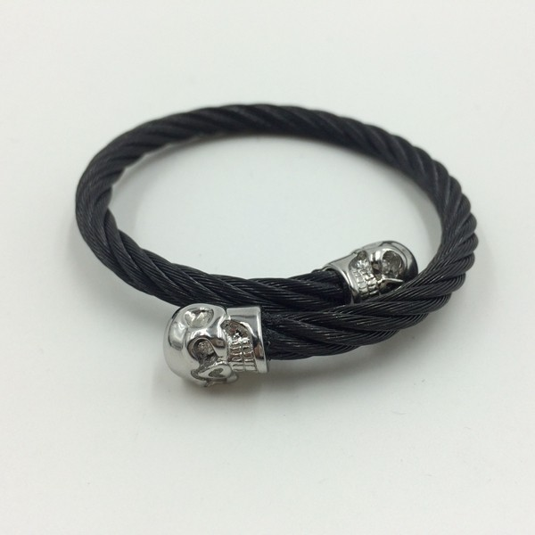 New fashion design stainless steel double skull mesh wire through expandable bangle  bracelet
