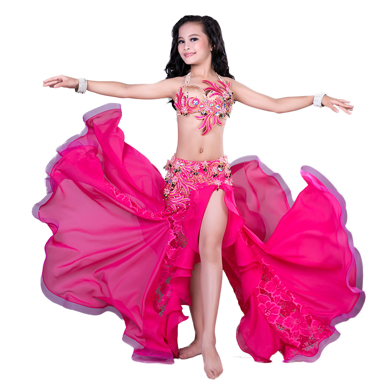 Rhinestone Beading Lace Chiffon Belly Dance Placketing Skirt 2pcs Set For Little Girl/children,costume Performance Wear RT181