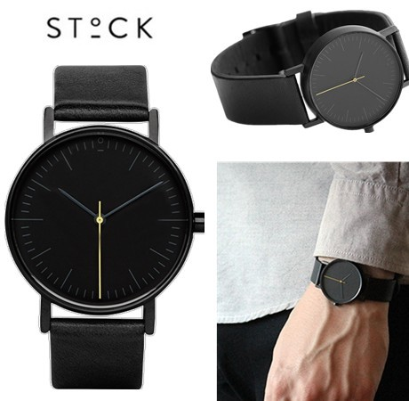 d1d1dd7834a7 STOCK Reloj de Cuarzo de Los Hombres Top Brand Negro Cuero de LA PU Relojes  Relojes