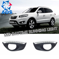 2PCs Set Car LED DRL Waterproof Daytime Running Lights Set For Hyundai Santa Fe IX45 2010