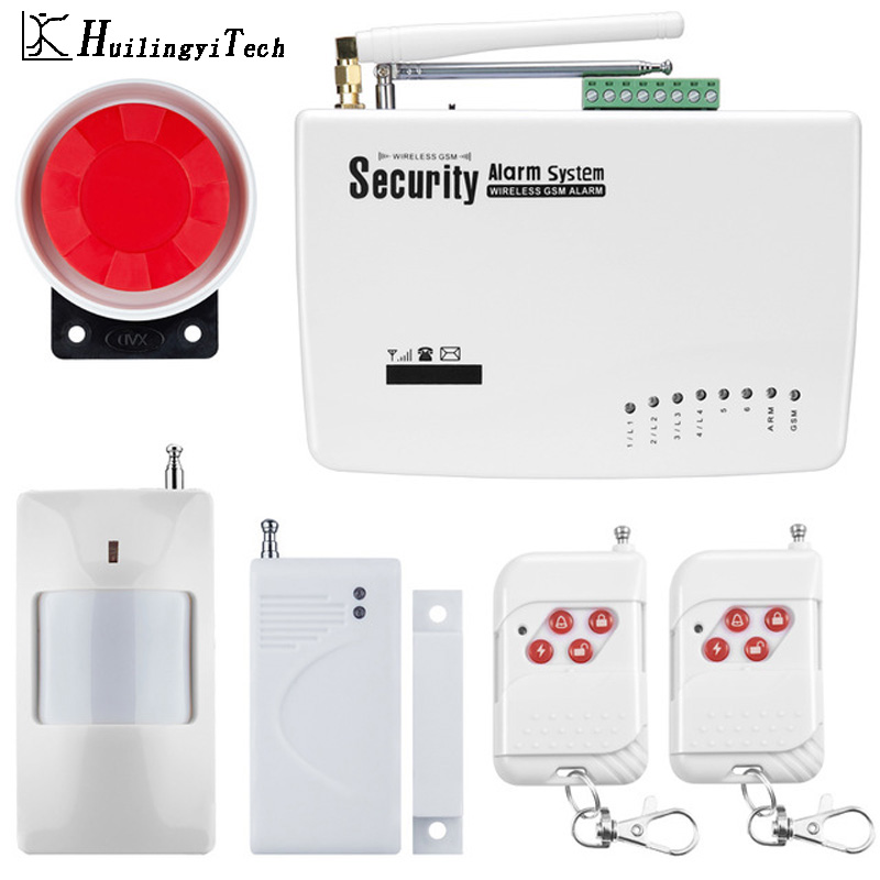 Wireless GSM Alarm System Dual Antenna GSM Home Alarm Systems with PIR Detector Russian English Voice Home Security GSM Alarm