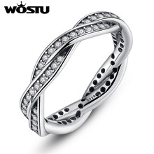 High Quality European Rings with full Crystal Original Brand Wedding Silver Ring Jewelry Christmas Gift FB7208