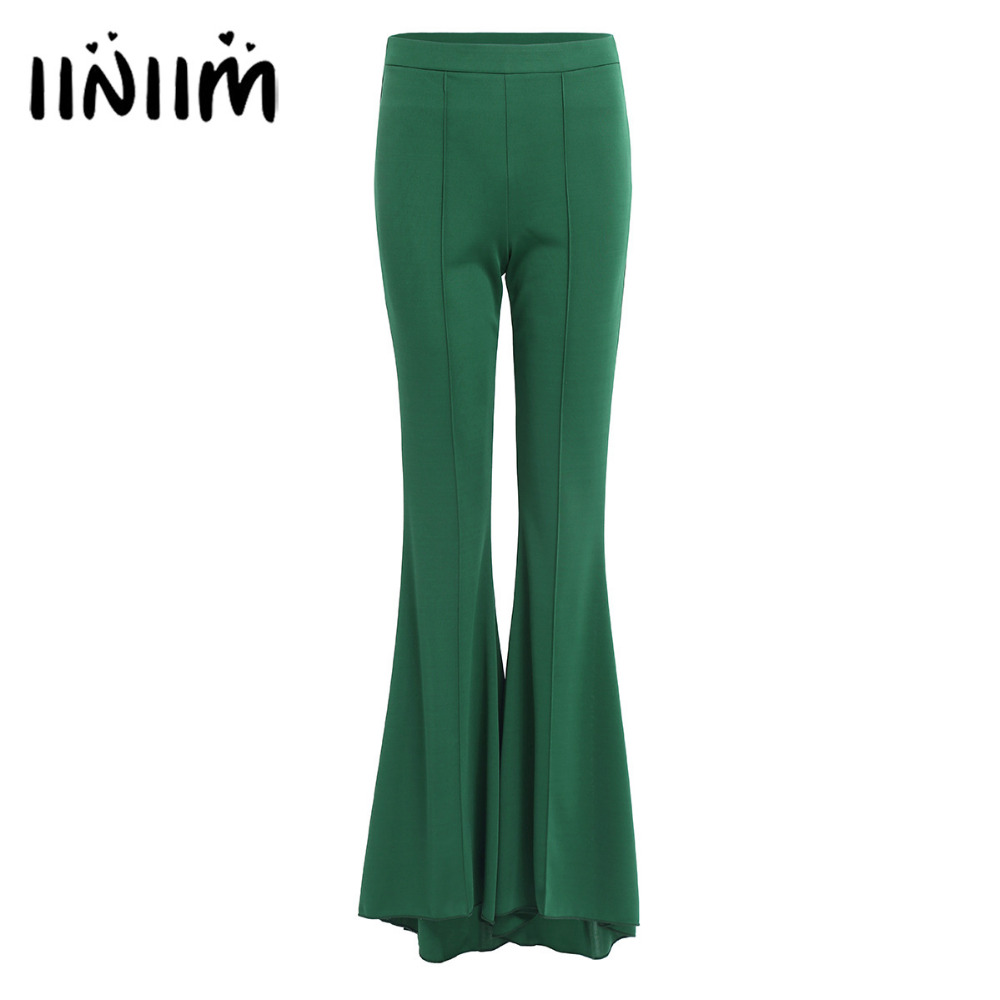 iiniim Fashion Women Spring Summer Party Mid Waist Slim Fit Solid Stretchy Bell Bottom Flare Trousers Wide Leg Palazzo Pants