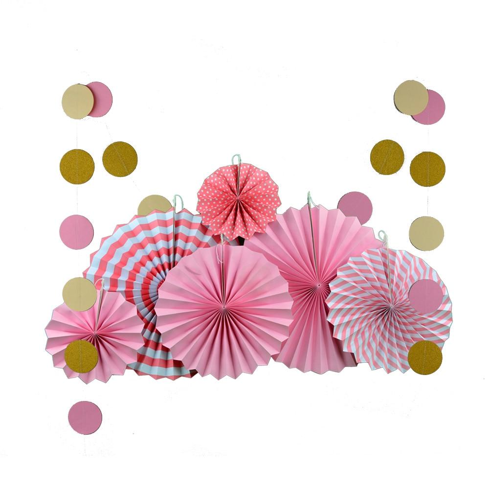 Diy Junge Madchen Baby Dusche Dekoration Rosa Blau Set Papier Fan