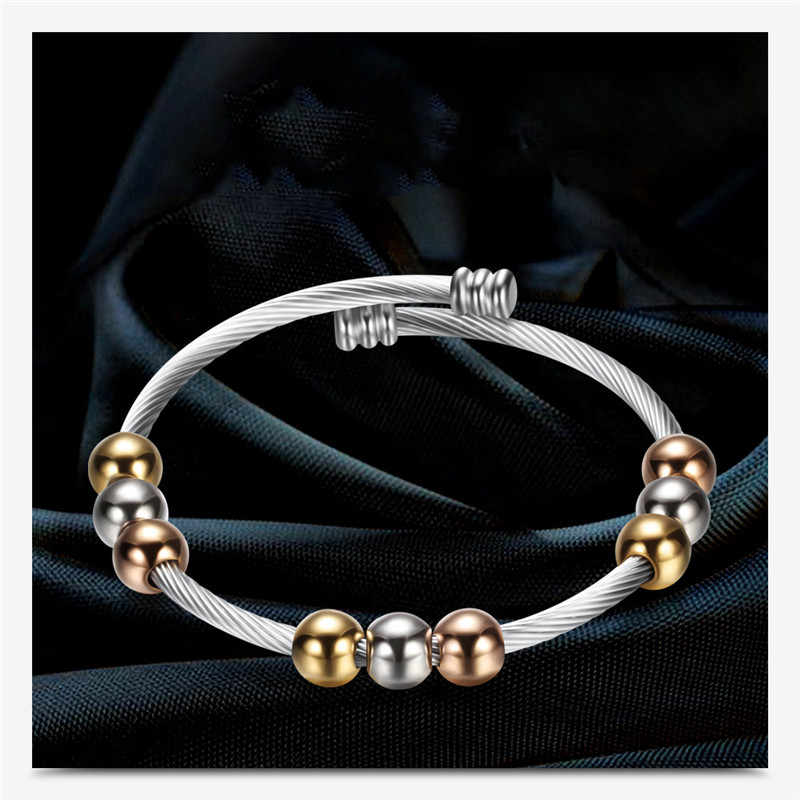 GS Stainless Steel Bracelet Bangles For Women Men Adjustable Spring Wire Line Colorful Beads Cross Cable Sting Bracelet Gift R5M
