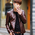 2016 autumn and winter new male leather clothing slim stand collar short design leather jacket outerwear men's clothing