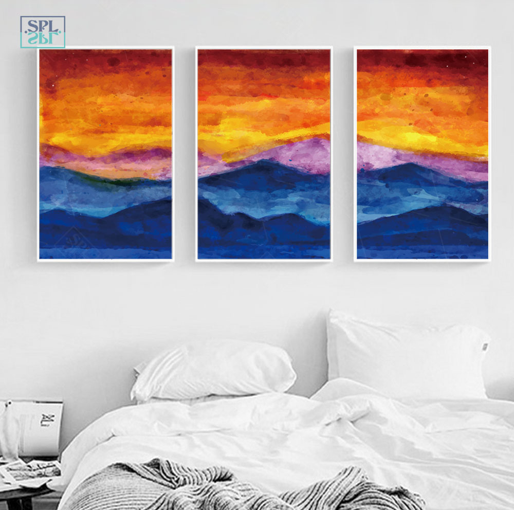 SPLSPL Watercolor Canvas Art Print Painting Sunset Scenery Wall Picture Home Decoration For Living Room Without Frame O