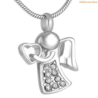 KLH9143 Little Angel Cremation Necklaces for Ashes Stainless Steel Jewelry Fairy Will Hold You Heart For Me Cremation Jewelry