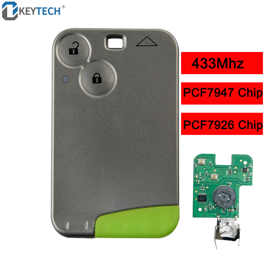 OkeyTech Remote Card Smart Car Key For Renault Laguna Espace 433mhz ID46 PCF7947 PCF7926 Chip 2 Buttons With Insert Blade