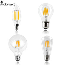 LED Filament Bulb E27  E14 Vintage Edison Lamp 220 Retro Candle Light Globe Chandelier Lighting COB Home Decor DIMMABLE