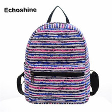Printing Color Stripes Backpacks Fashion Hot Men Women Boys Girls Mochila Rucksack Canvas Bags Casual School Travel Shoulder Bag
