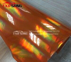 Image 2 - 3 M/5 M/10 M/15 M/20 M PARA A ESCOLHA New arrival holográfica cromo envoltório película holográfica rainbow film com bolhas de ar livre