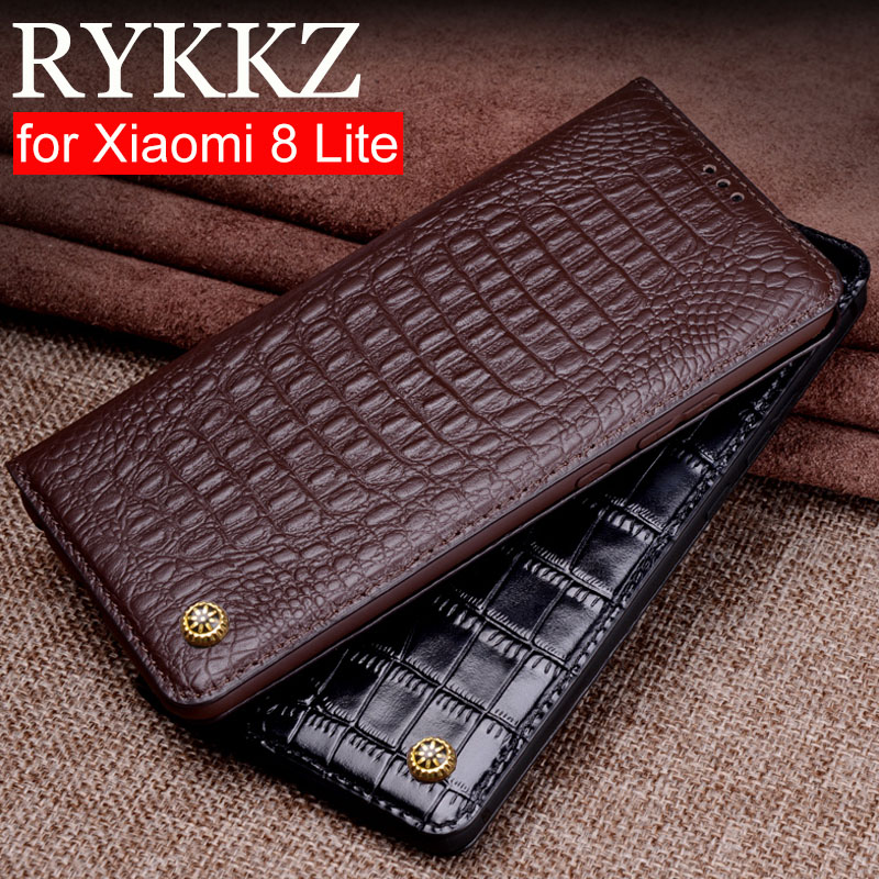 RYKKZ Genuine Leather Flip Case For Xiaomi 8 Lite Cover Magnetic case For Xiami Mi 8 Lite Cases Leather Cover Phone Cases Fundas image
