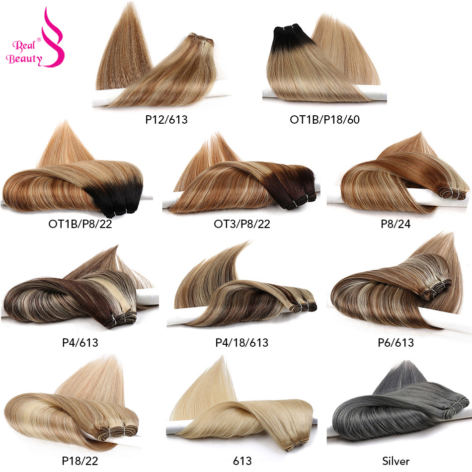Extensions de cheveux de Balayage RealBeauty paquets de cheveux humains brésiliens droits Double trame Remy Ombre/brun/miel Blond/couleur nordique