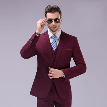 Fashion Style One Button Burgundy Groom Tuxedos Groomsmen Men's Wedding Prom Suits Bridegroom (Jacket+Pants+Vest+Tie) K:978