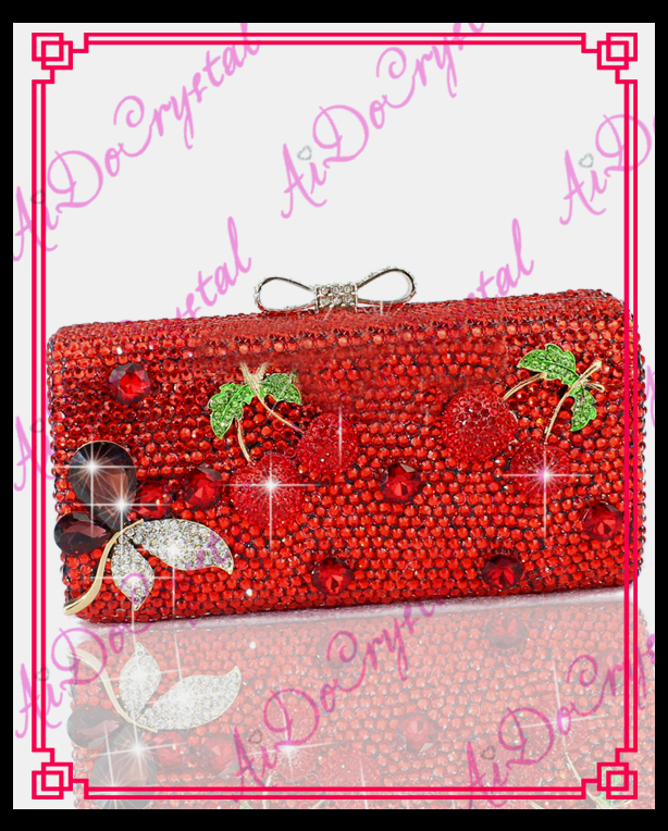 Aidocrystal brand red crystal and rhinestone evening bags decorated with cherry костюм мужской gerkon raptor летний светло серая цифра 52 54 170 176