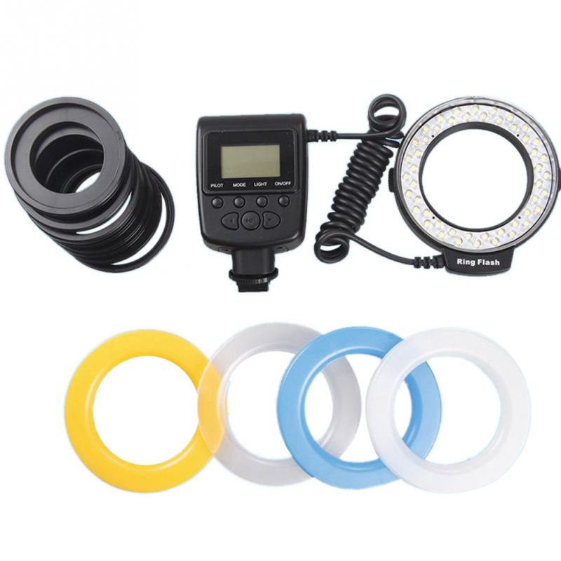 2018 new RF-550D Macro 48 pieces LED Ring Flash Light for Canon for Nikon for Olympus Panasonic DSLR Camera high quality недорго, оригинальная цена