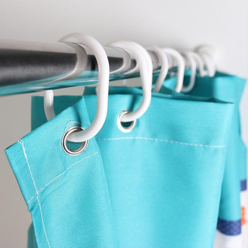 New Curtain Poles Shower Rod Hook Hanger White Color Plastic Ring Bath Drape Loop Clasp Drapery Home Use Clips 12 pcs/lot