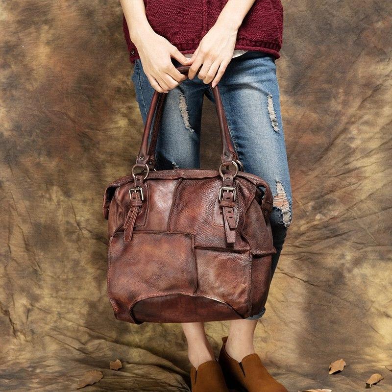High-End Ladies Patchwork Handmade Handbag Famous Brands Designer Bags Female Shoulder Bags 2017 Summer Genuine Skin Bag Big Sac