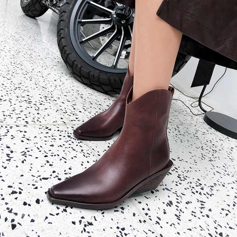 krazing pot recommend genuine leather square high heel pointed toe zipper charming model runway vintage Chelsea ankle boots l63 - 5
