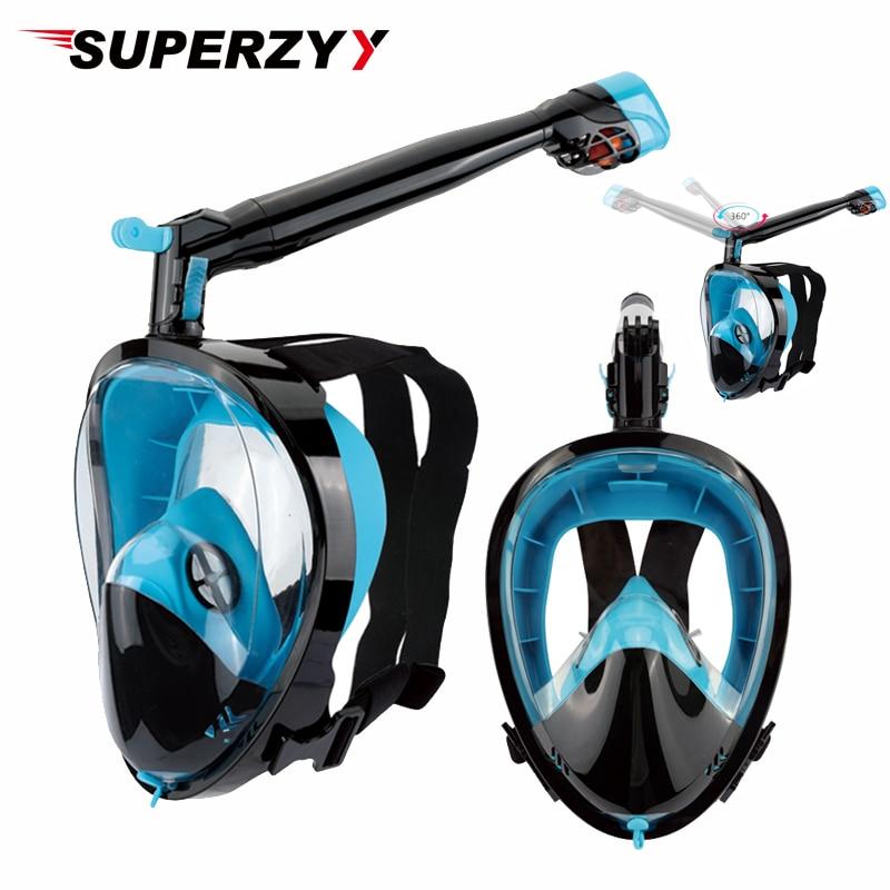 2019 New Snorkel Mask Scuba Underwater Diving Mask 360 Degree Rotate Full Face Snorkeling Masks 180 View Anti-fog Anti-Leak