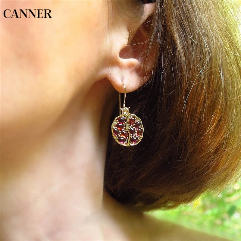 Canner Vintage Round Gold Color Natural Red Garnet Earrings For Woman Girl CZ Stone Dangle Drop Earrings Gift