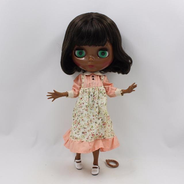 TBL Neo Blythe Doll Black Skin Short Black Hair Jointed Body