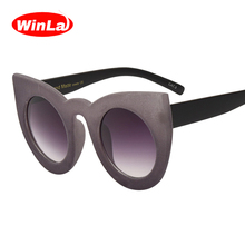 Winla Sexy Cat Eye Sunglasses New Fashion Designer Women Plush personality Border Velvet Frame Vintage Ladies Feminino WL1055