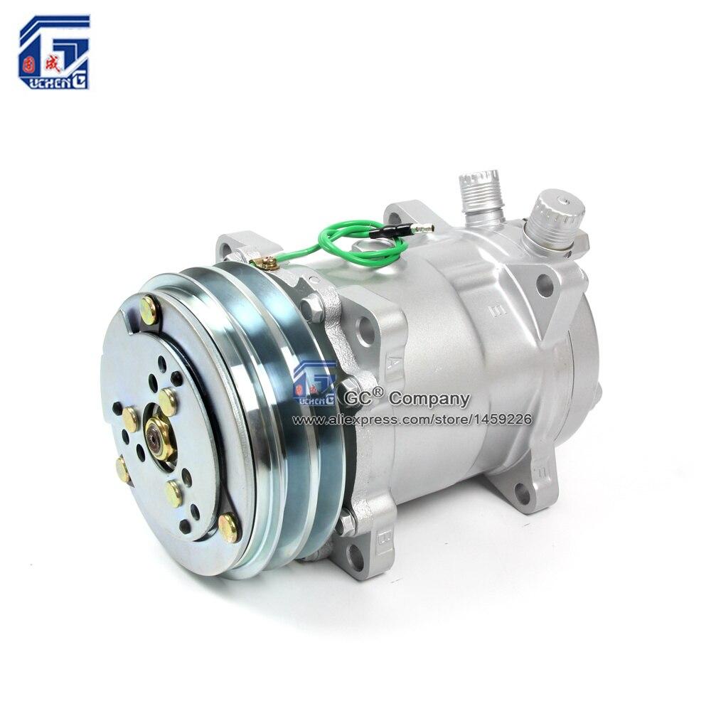 Sanden 508 Compressor SD508 5H14 12 V/24 V 2 Sulco Blet V Polia Pesados Caminhão Trator Escavadeira Ar Condicionado Universal