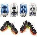 Novidade Unisex Mulheres Homens Sem Gravata Cadarço Cadarços Elásticos de Silicone Todos Os Sneakers Fit Cinta Atlético Tênis de Corrida preto Puro