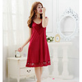 Ladies Sexy Ice Silk Dress V-neck Sleeveless Breathable Cool Nightgown High Quality Lace Sling Sleepwear Nightwear