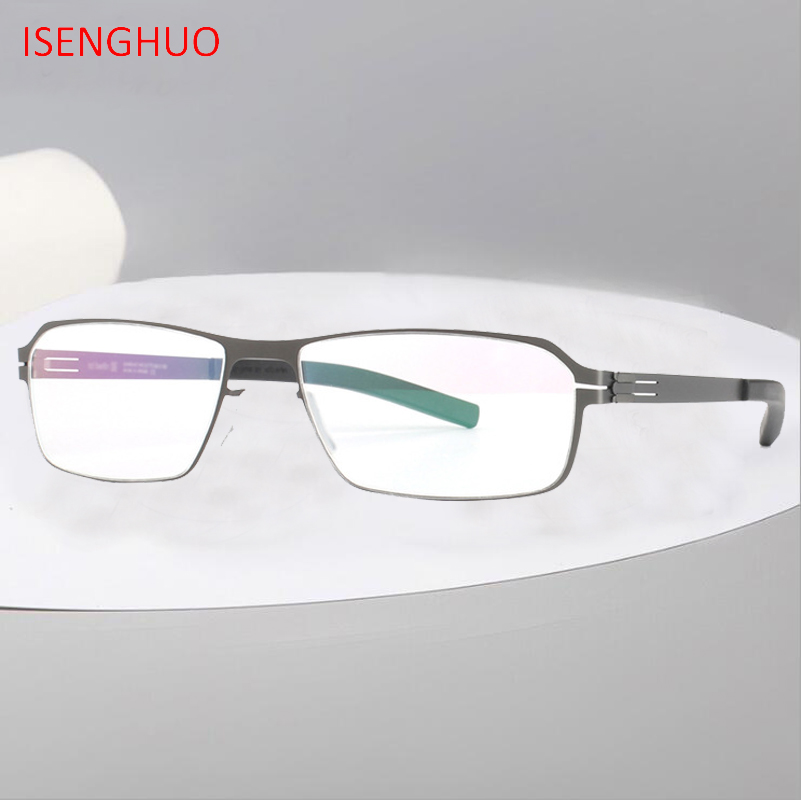 ISENGHUO High Quality IC Unique No Screw Design Eyeglasses Frames Men Myopia Spectacle Frame Glasses Gafas De Grau