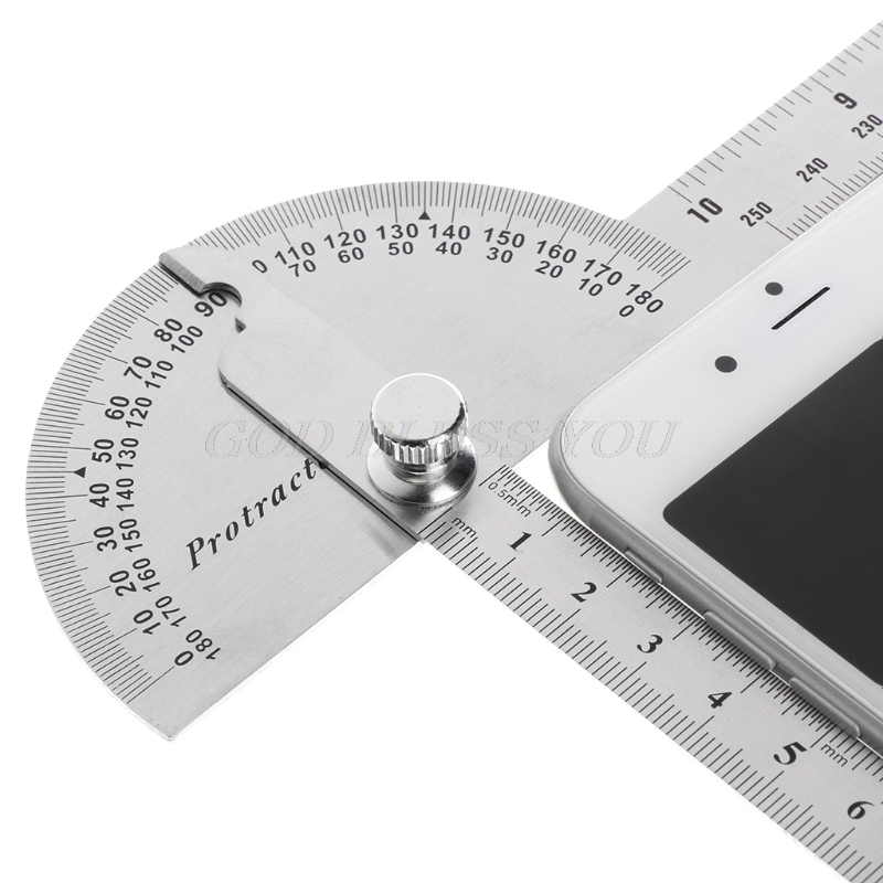 Stainless Steel Angle Ruler 180 Degree Protractor Finder Arm Measuring Tool