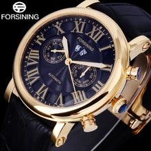 FORSINING erkekler İzle elbise marka moda iş otomatik mekanik saat altın siyah kol saatleri siyah Band hakiki deri
