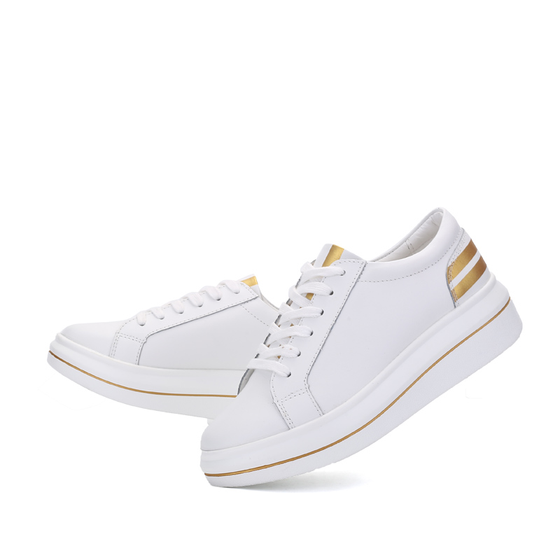 O16U Women Sneakers Platform Casual Shoes Genuine Leather Striped Printing Lace Ladies Lovely White Black Shoes Spring Designer